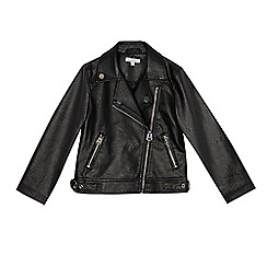 bluezoo - Girls' black leatherette biker jacket