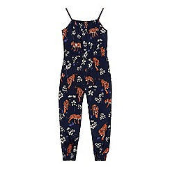bluezoo - Girls' navy tiger print jumpsuit