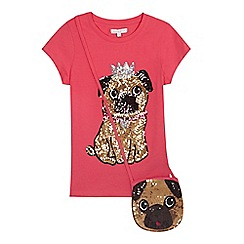 bluezoo - Girls' pink princess pug sequinned t-shirt with a bag