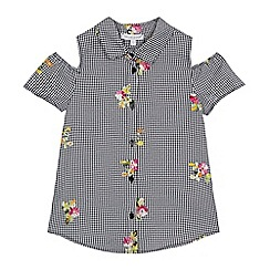 bluezoo - Girls' gingham print floral embroidered cold shoulder shirt