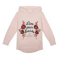 bluezoo - Girls' light pink sequinned embellished 'Live your dreams' hoodie