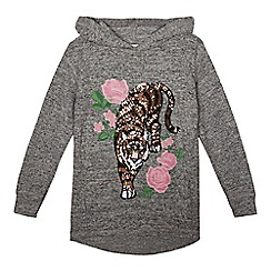 bluezoo - Girls' grey tiger applique hoodie