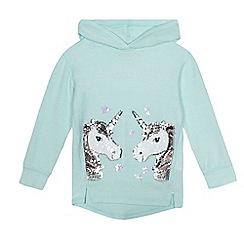 bluezoo - Girls' aqua unicorn applique hoody