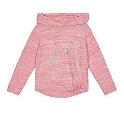 bluezoo - Girls' pink unicorn applique hoody