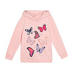 bluezoo - Girls' light pink butterfly applique hoodie