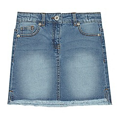 bluezoo - Girls' blue denim frayed skirt