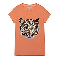 bluezoo - Girls' orange sequinned tiger t-shirt