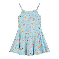 bluezoo - 'Girls' pale blue flamingo print skater dress