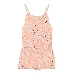 bluezoo - 'Girls' peach flamingo print playsuit