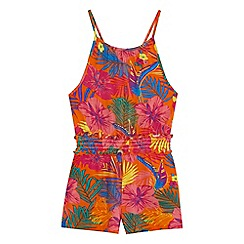 bluezoo - Girls' multicoloured tropical floral print playsuit