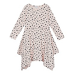 bluezoo - Girls' light pink heart print hanky hem skater dress