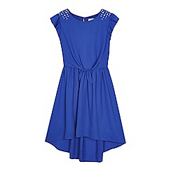 bluezoo - 'Girls' bright blue tie front dress