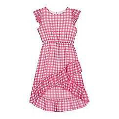 bluezoo - 'Girls' pink gingham print asymmetric dipped hem dress