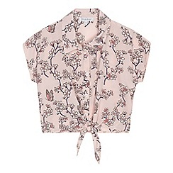 bluezoo - Girls' light pink floral print self-tie hem blouse