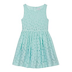 bluezoo - 'Girls' aqua floral lace prom dress