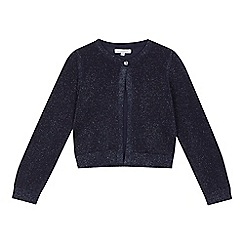 bluezoo - 'Girls' navy glitter long sleeve cardigan