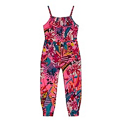 bluezoo - 'Girls' multi-coloured tropical print jumpsuit