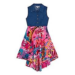 bluezoo - Girls' multicoloured denim mock shirt dress