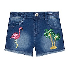 bluezoo - 'Girls' blue sequinned applique denim shorts