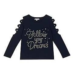 bluezoo - Girls' navy pearl embellished 'Follow Your Dreams' lace up sleeve top