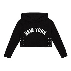 bluezoo - Girls' black 'New York' lace up side hoodie