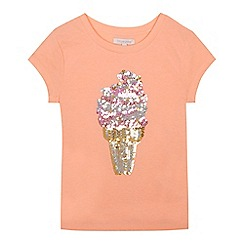 bluezoo - Girls' coral ice cream sequinned t-shirt