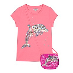 bluezoo - 'Girls' pink sequinned dolphin t-shirt and bag set