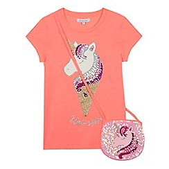 bluezoo - Girls' coral sequinned 'Uni-cone' t-shirt and bag set