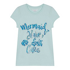 bluezoo - Girls' aqua 'Mermaid hair don't care' slogan t-shirt