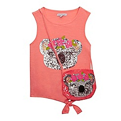bluezoo - 'Girls' coral sequinned koala t-shirt and bag set