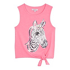 bluezoo - Girls' pink sequinned 'zebra-corn' short sleeve vest top