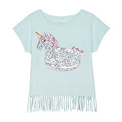 bluezoo - 'Girls' aqua sequinned unicorn inflatable t-shirt