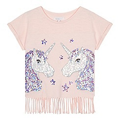 bluezoo - 'Girls' pink sequin unicorn t-shirt