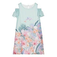 bluezoo - 'Girls' aqua floral print cold shoulder dress