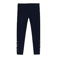 bluezoo - Girls' navy lace up leggings