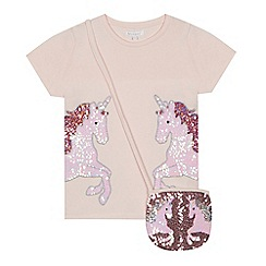 bluezoo - Girls pink sequinned unicorn t-shirt and bag set