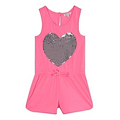 bluezoo - 'Girls' pink reversible sequinned heart jumpsuit