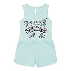 bluezoo - Girls' light green sequinned 'Team Unicorn' playsuit