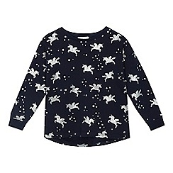 bluezoo - 'Girls' navy unicorn print sweater