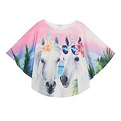 bluezoo - 'Girls' multi-coloured unicorn cape top
