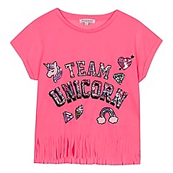 bluezoo - Girls' pink sequin embellished 'Team Unicorn' top