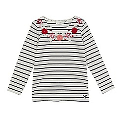 J by Jasper Conran - Girls' white Bretton stripe flower applique top