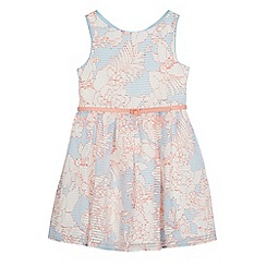 J by Jasper Conran - Girls' light blue floral print burnout striped prom dress