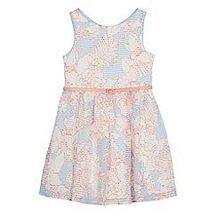 J by Jasper Conran - Girls' light blue floral print burnout striped prom dress