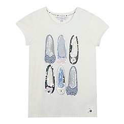 J by Jasper Conran - Girls' white shoe embroidered t-shirt