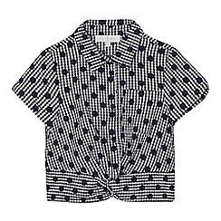 J by Jasper Conran - Girls' navy gingham spot print blouse