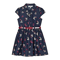 J by Jasper Conran - Girls' blue chambray floral print belted shirt dress