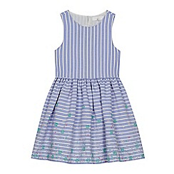 J by Jasper Conran - 'Girls' blue striped floral embroidered dress