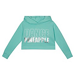 Pineapple - Girls' pale green logo print cropped hoodie