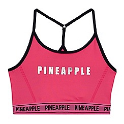 Pineapple - Girls' pink mesh panel sports crop top